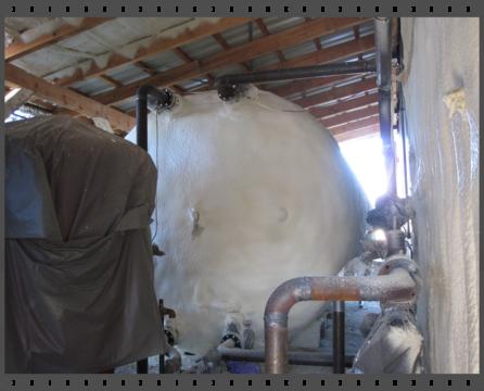 Puffertárolók szigetelése szórt poliuretánnal